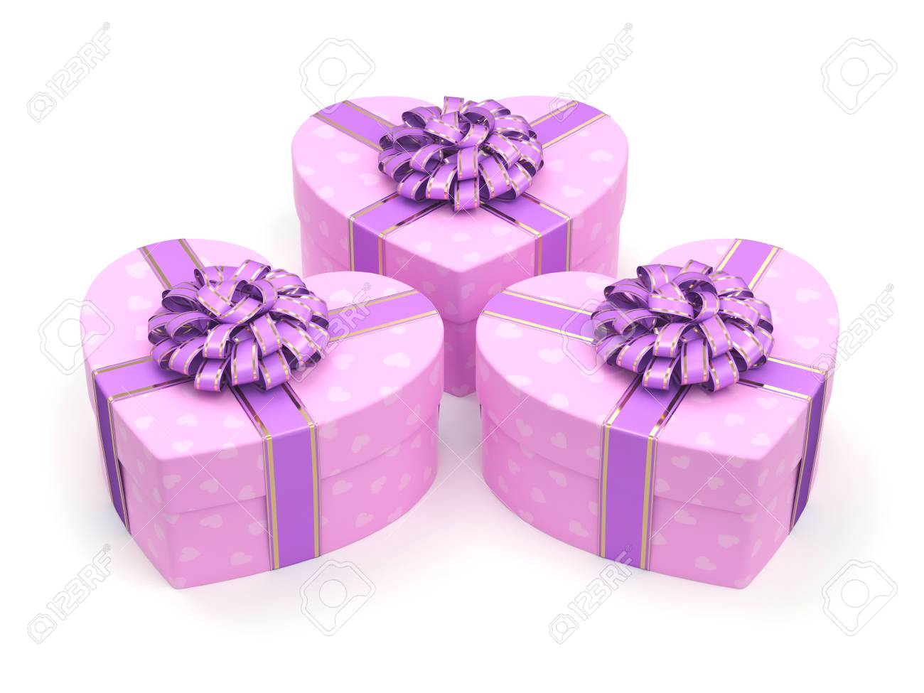 3D Rendering Pink Boxes With Heart Shaped Purple Ribbon Stock Photo ...