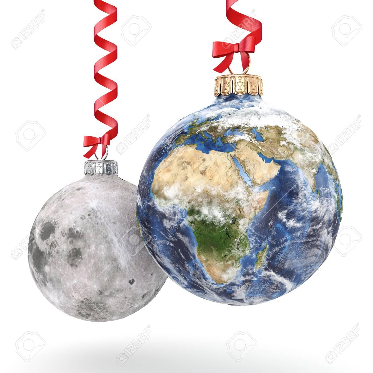 Boule De Noel De Rendu 3d Sous La Forme De La Planete Terre Et La Lune Sur Un Fond Blanc Donnees Nasa Utilisees Banque D Images Et Photos Libres De Droits Image 66728102