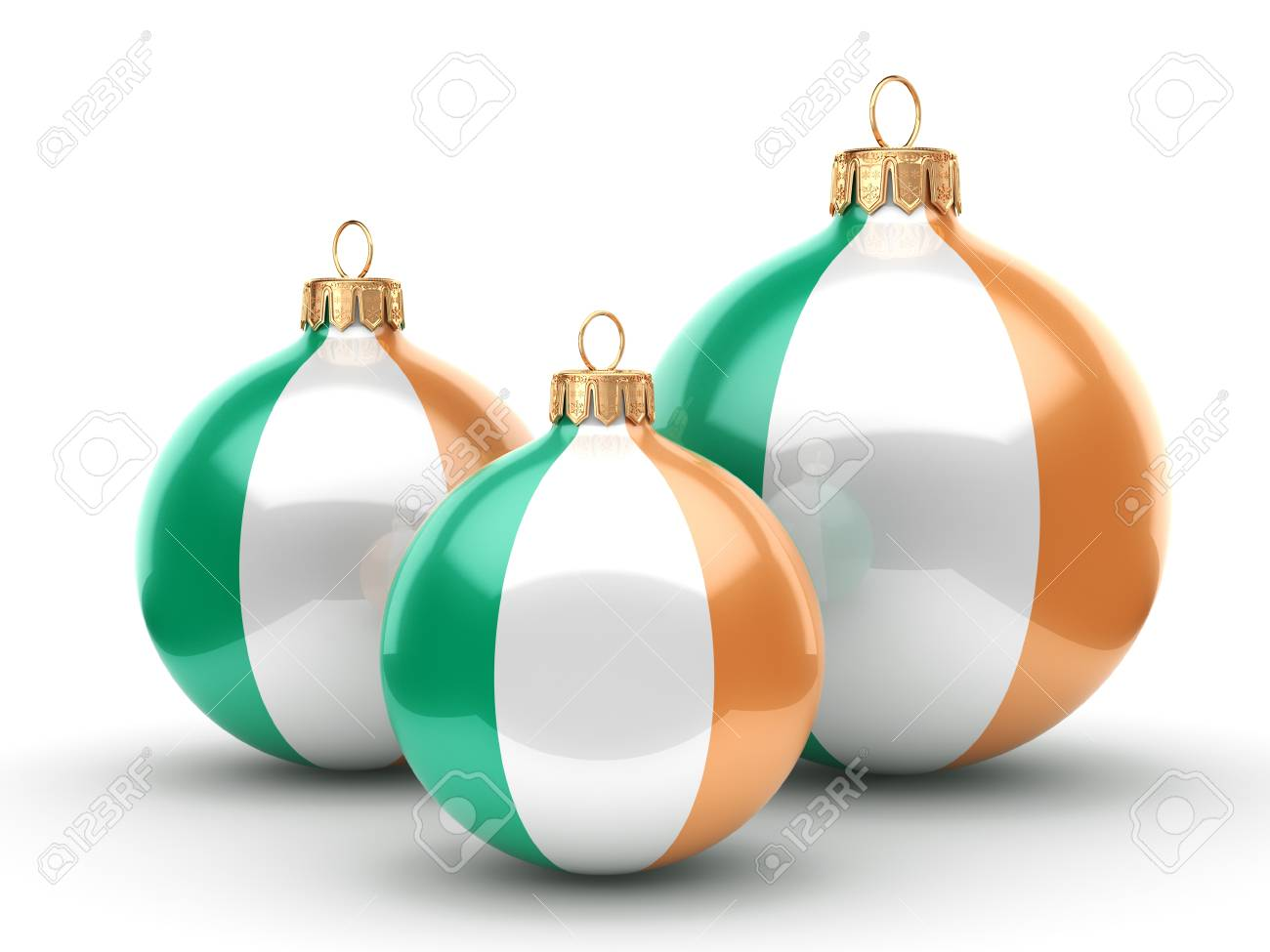 3D Rendering Christmas Ball Decorated With The Flag Of Ireland Stock ...