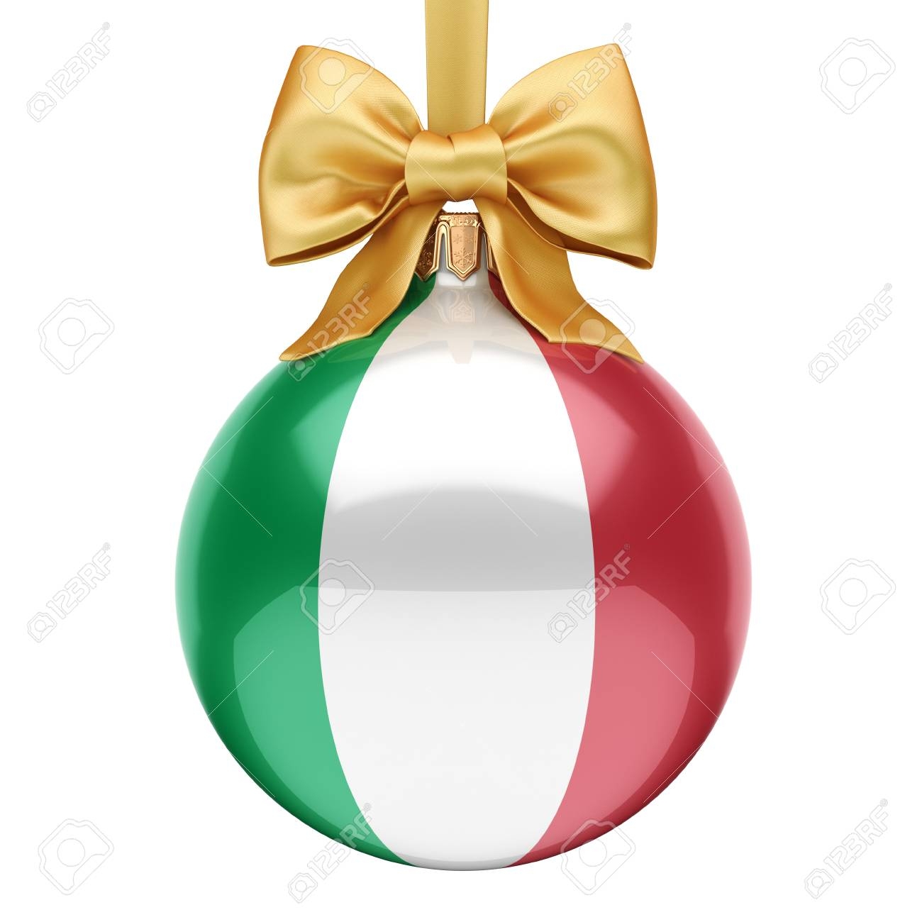 3D Rendering Christmas Ball Decorated With The Flag Of Italy Stock ...