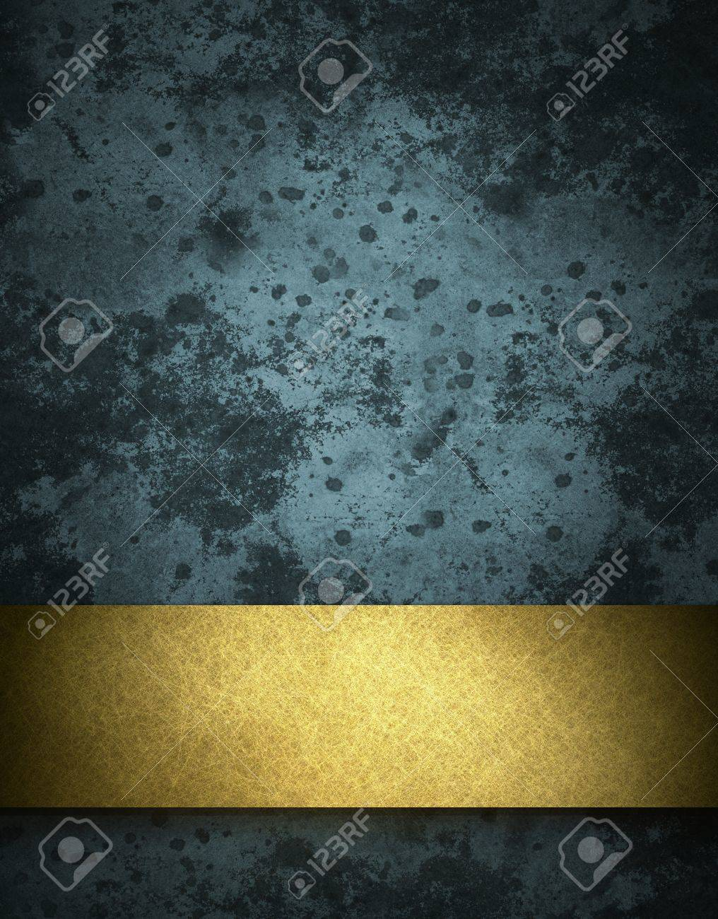 dark blue background with elegant gold ribbon stripe layout on border of frame with vintage grunge texture and old stone stains with copy space for ad or announcement Stock Photo - 11801974