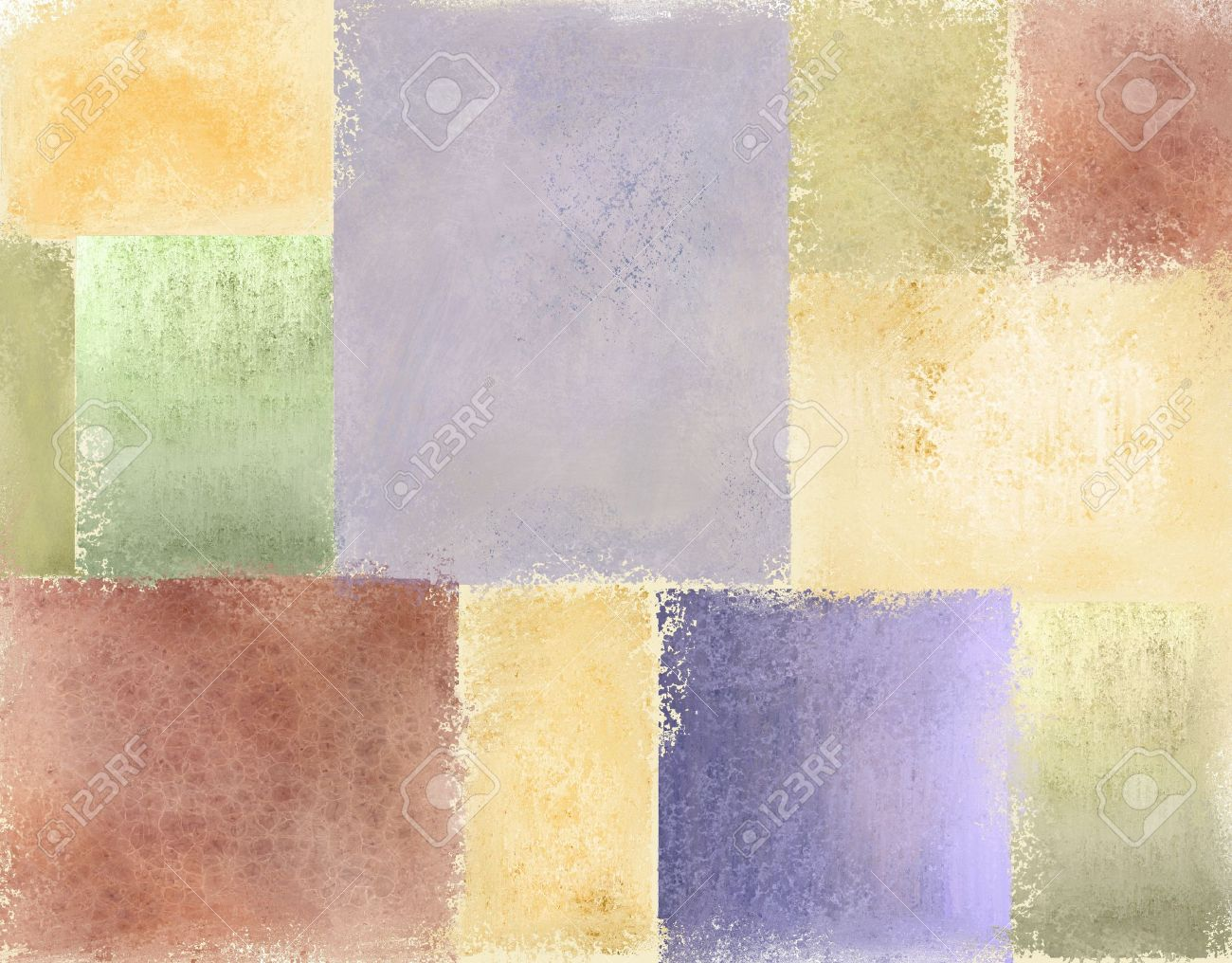 variety of pastel vintage grunge textured backgrounds in light faded patches of quilt illustration design in pale blue, cream, red, green, gold, pimk, purple, and yellow for Easter Stock Photo - 11935725