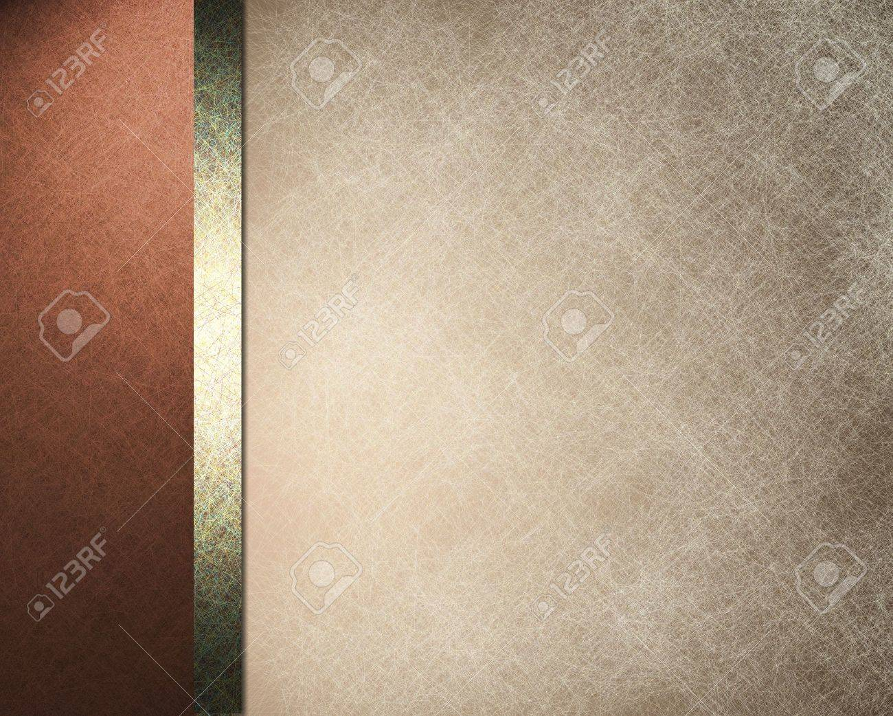 elegant formal background with light brown beige parchment paper illustration with striped side border of pink red color and gold ribbon with vintage grunge texture and copy space for brochure or menu Stock Photo - 12252768