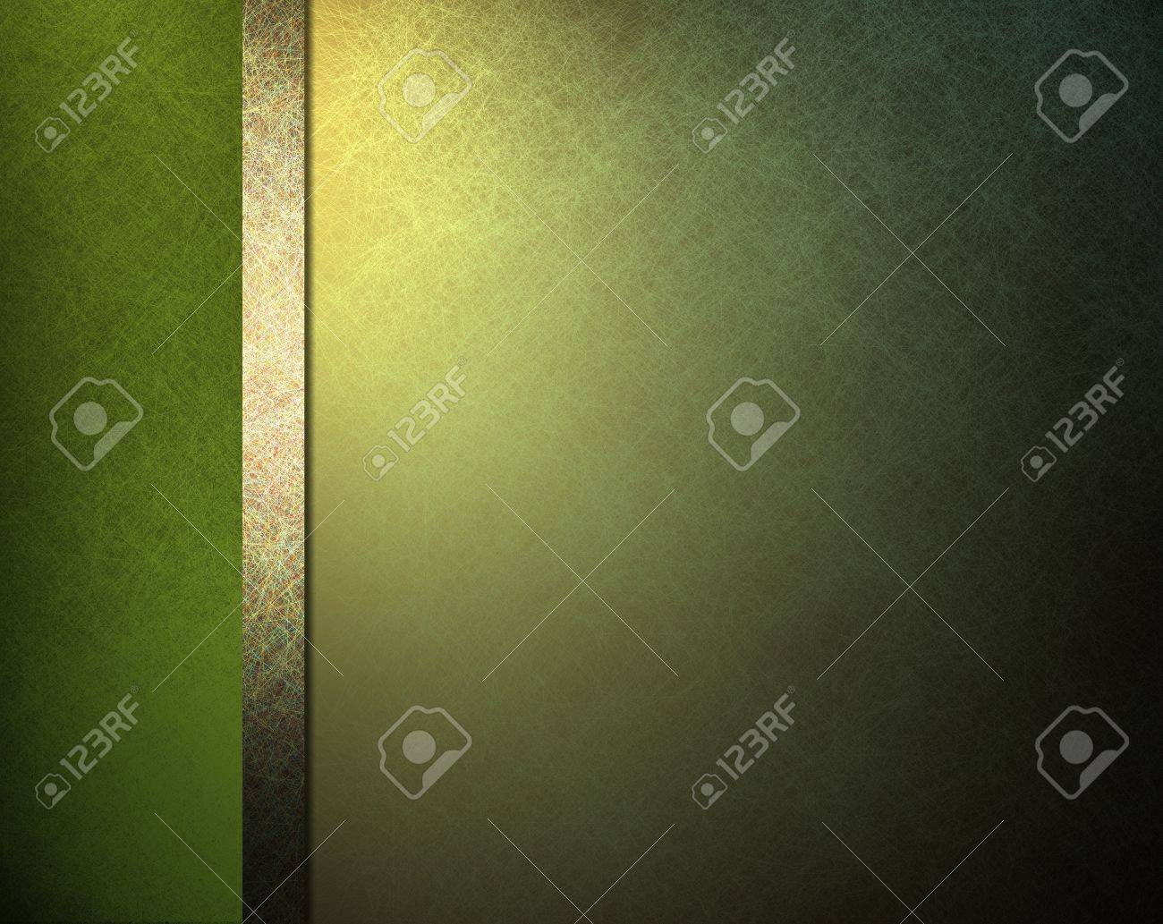 pale light and dark green background with yellow gold highlight and ribbon stipe in website template layout or formal classic menu backdrop with copyspace for St  Patricks day Stock Photo - 12624010