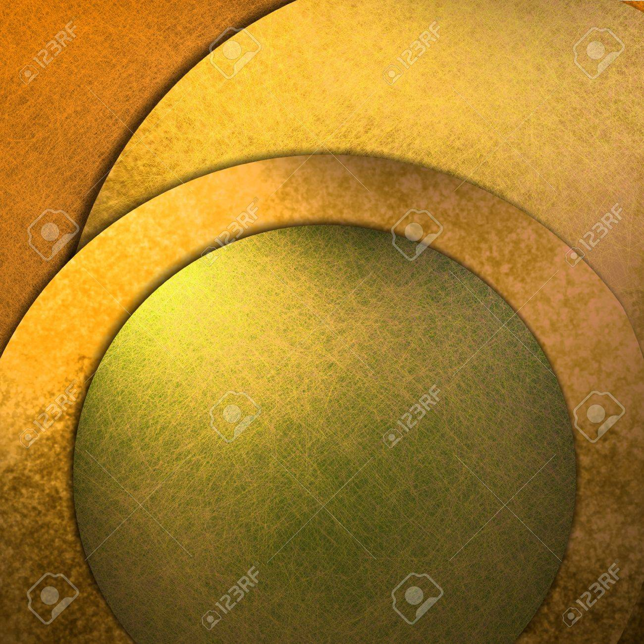 gold and green abstract background with graphic art design layout, circles, texture, lighting, and copy space to add your own text, title, image, or photo Stock Photo - 12624066
