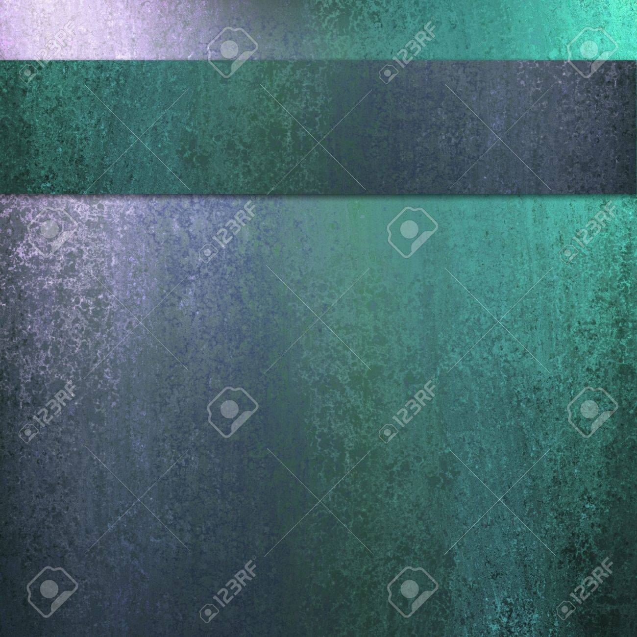 blue and green abstract background with lighting and sponge texture with dark ribbon stripe layout design and copyspace for ad or brochure text Stock Photo - 12624092