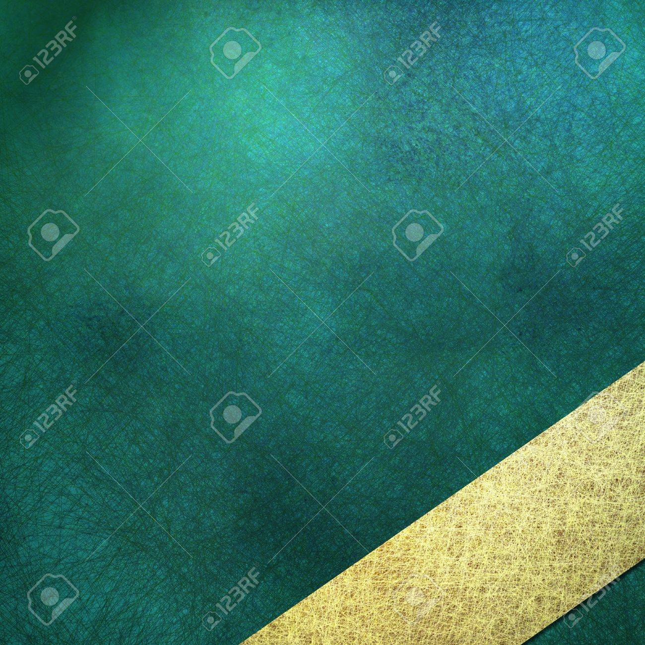 teal blue background, sign, or cover, with soft lighting, faint grunge scratch texture and shading, angled light gold stripe layout design Stock Photo - 13002341