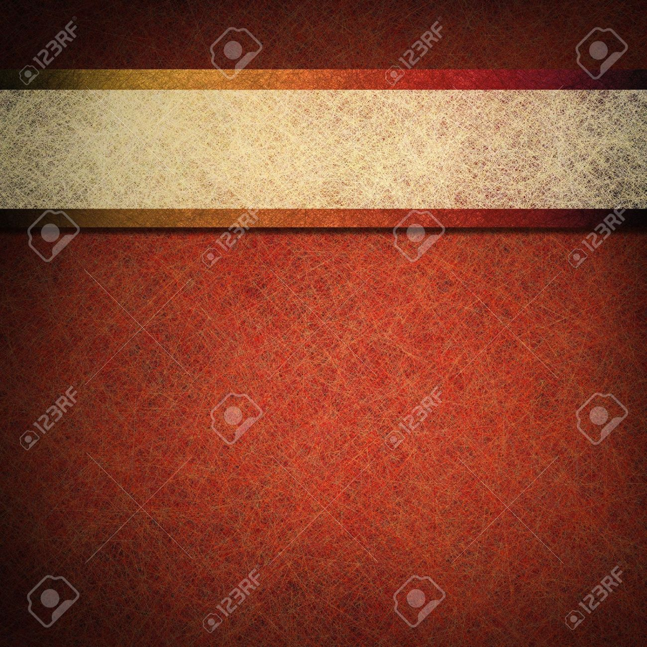 orange copper color background with  contrasting white parchment ribbon stripe layout design on vintage grunge texture with black vignette frame on border for fall autumn or Thanksgiving or Halloween Stock Photo - 13002398