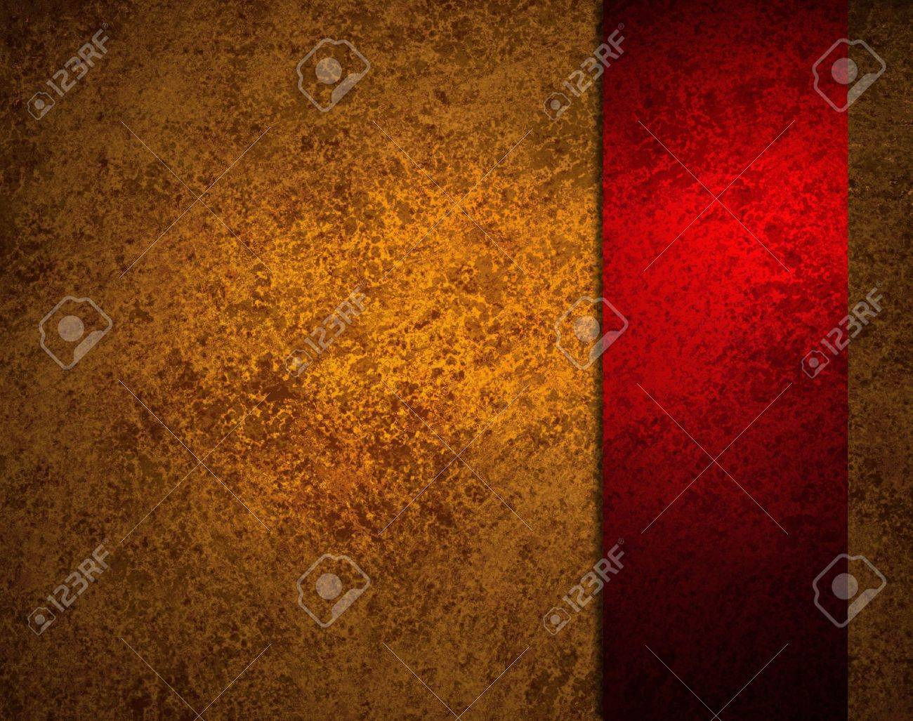 abstract red background with gold ribbon stripe or side bar on border frame, has vintage grunge background texture design with lighting, elegant Christmas background, red luxurious paper or wallpaper Stock Photo - 14674429