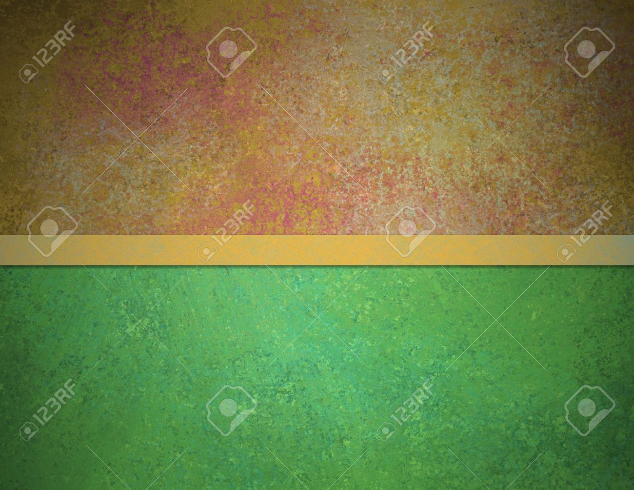abstract green background red gold top banner bar with vintage grunge background texture and elegant gold ribbon stripe over design layout Stock Photo - 14674448