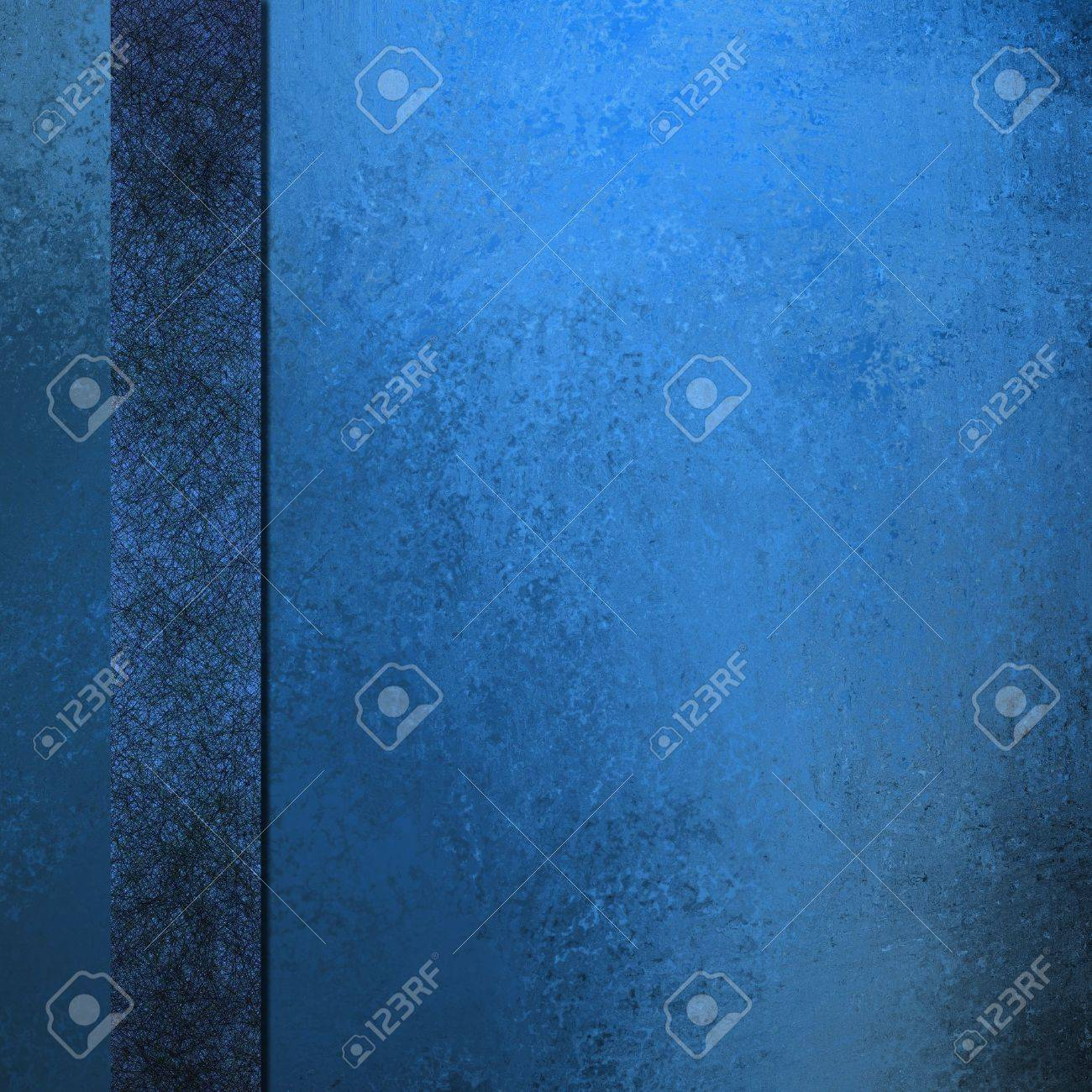 old blue background elegant layout with dark black and blue ribbon stripe down border frame for book cover design or brochure or web template, has vintage grunge background texture design faded color Stock Photo - 14674422