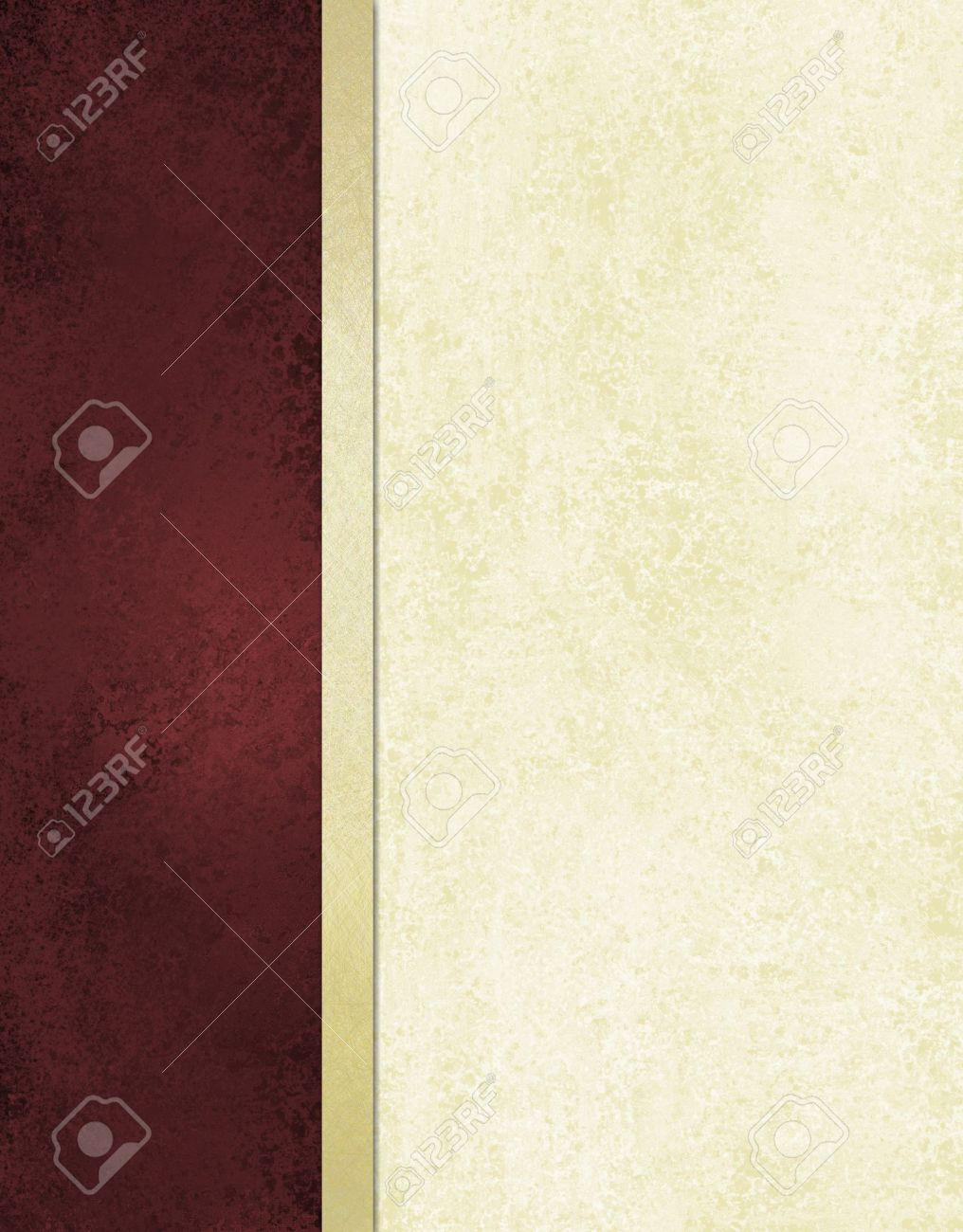 elegant book cover or journal album paper, white background with burgundy red side bar and gold ribbon stripe along border of frame, formal menu or website template, vintage grunge background texture Stock Photo - 14674423
