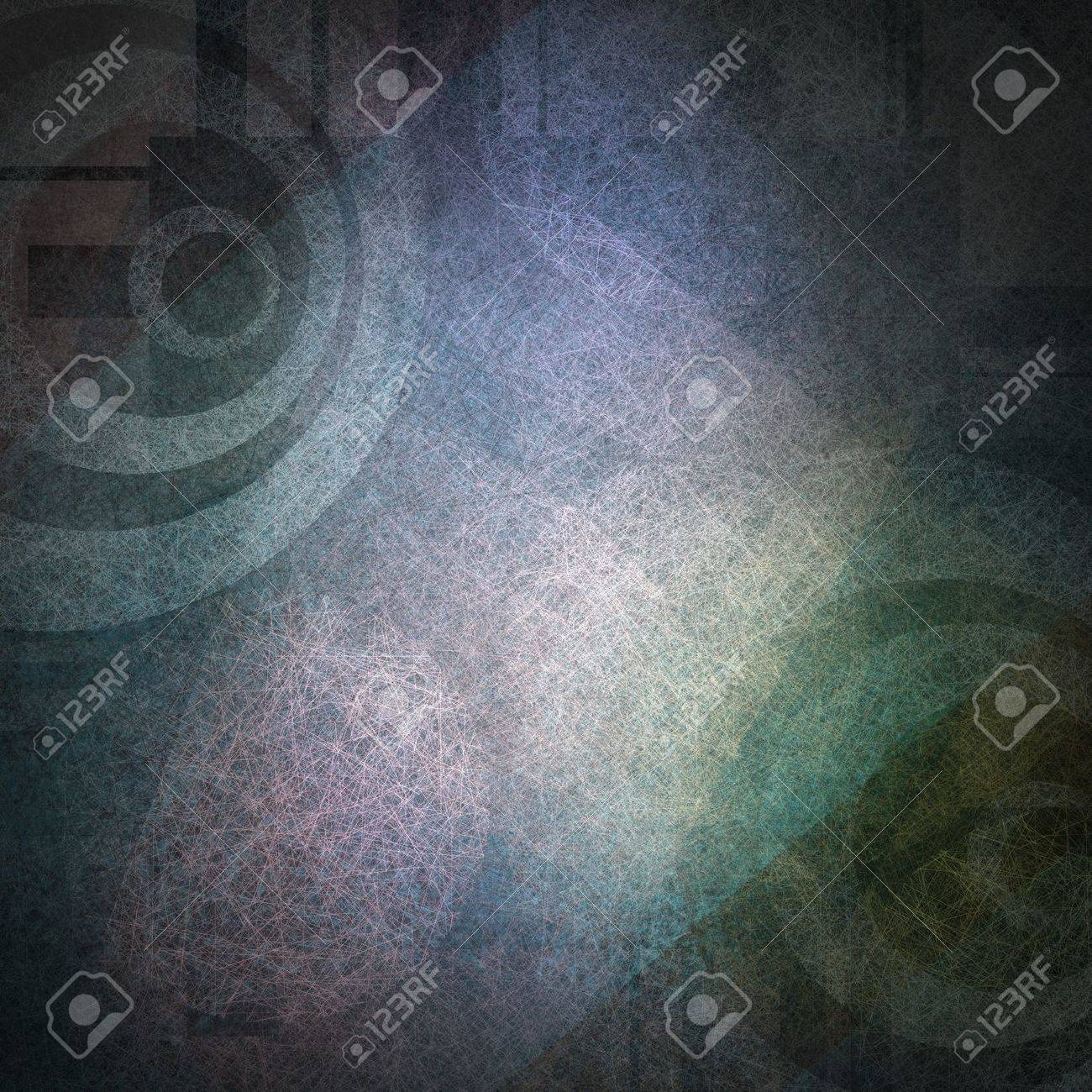 elegant abstract background of colorful shapes on blue background of white circle target striped pattern on vintage grunge background texture and white light for old brochure with urban modern art Stock Photo - 15308292