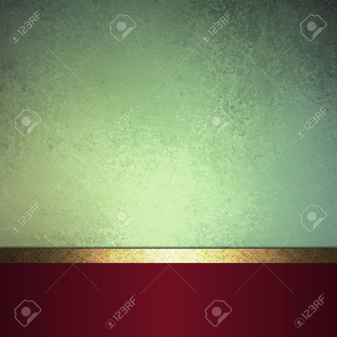 abstract Christmas background or green background design layout of elegant old vintage grunge background textured wall, blank dark burgundy red ribbon wrap on bottom frame, brochure ad or web template Stock Photo - 17310513