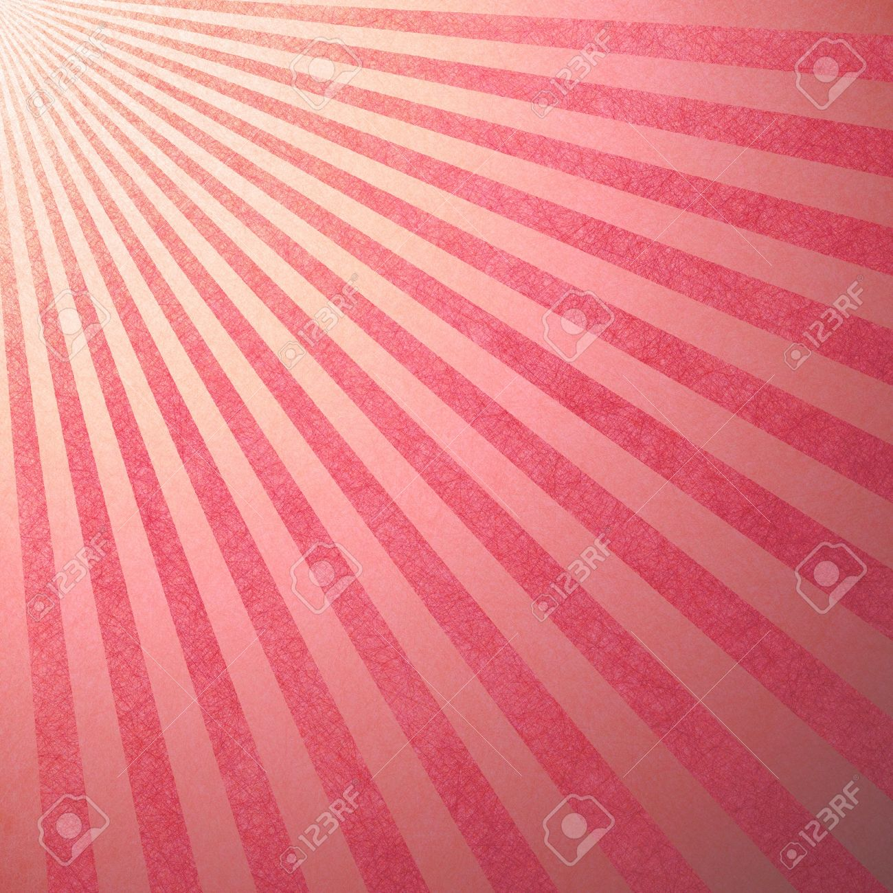 striped candy cane background, Christmas or holiday colors of abstract pink background stripes, faint vintage grunge background texture retro style design pattern with sun beams streaming from corner Stock Photo - 19744768