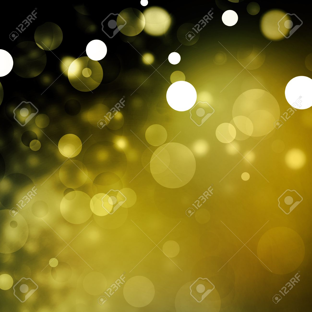 Beautiful gold bokeh background with black border and shimmering white Christmas lights or abstract falling snow  Festive party background  Fantasy night or magical background glitter sparkles Stock Photo - 28140419