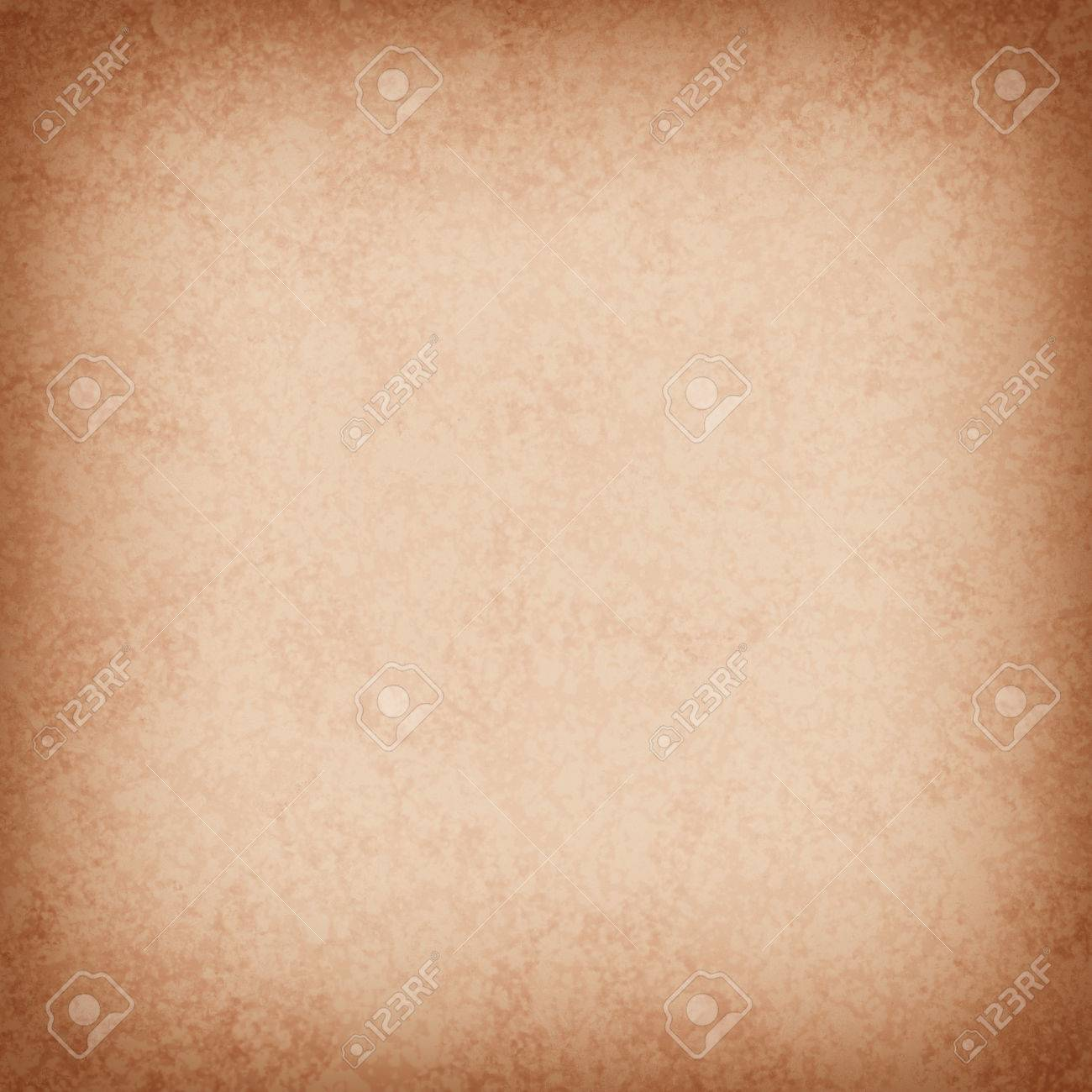 Beige Or Light Brown Background Paper With Distressed Vintage Texture And Faint Darker Grunge Border