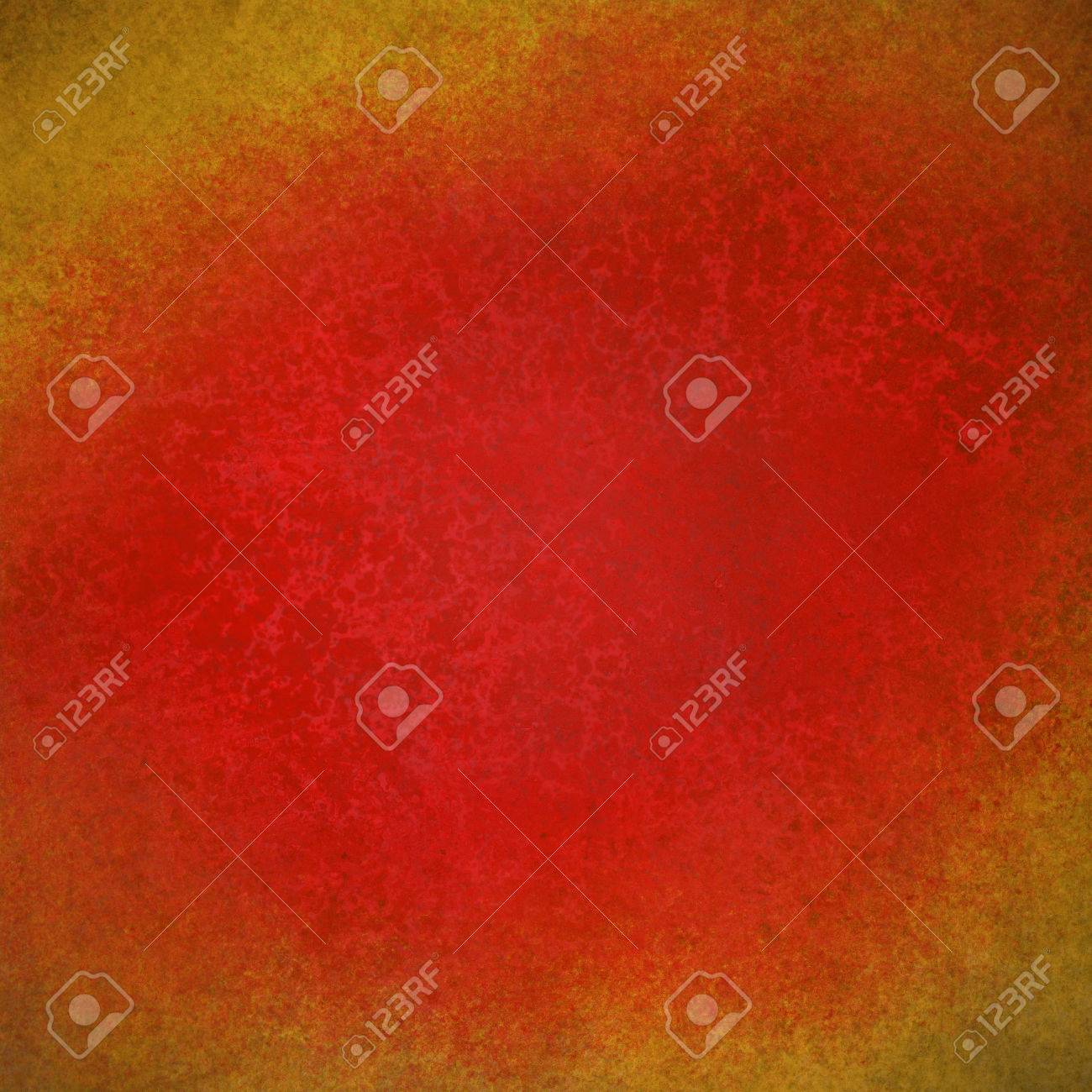 Bright Red Background Texture Paper Faint Rustic Gold Grunge Border Paint Design Old Distressed