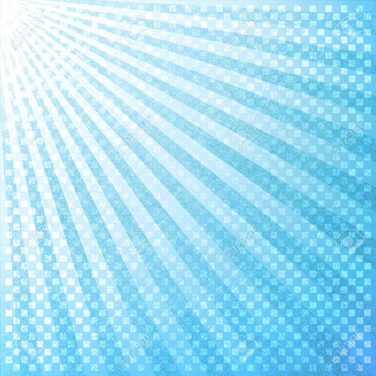retro blue background layout design with striped pattern angle from top corner like sun beams or