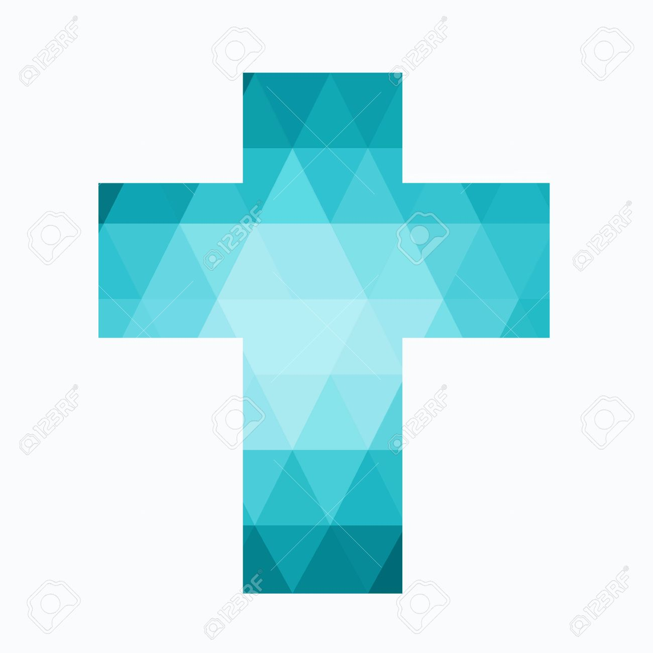 Easter Cross Clip Art Isolated On White Background, Low Poly ...