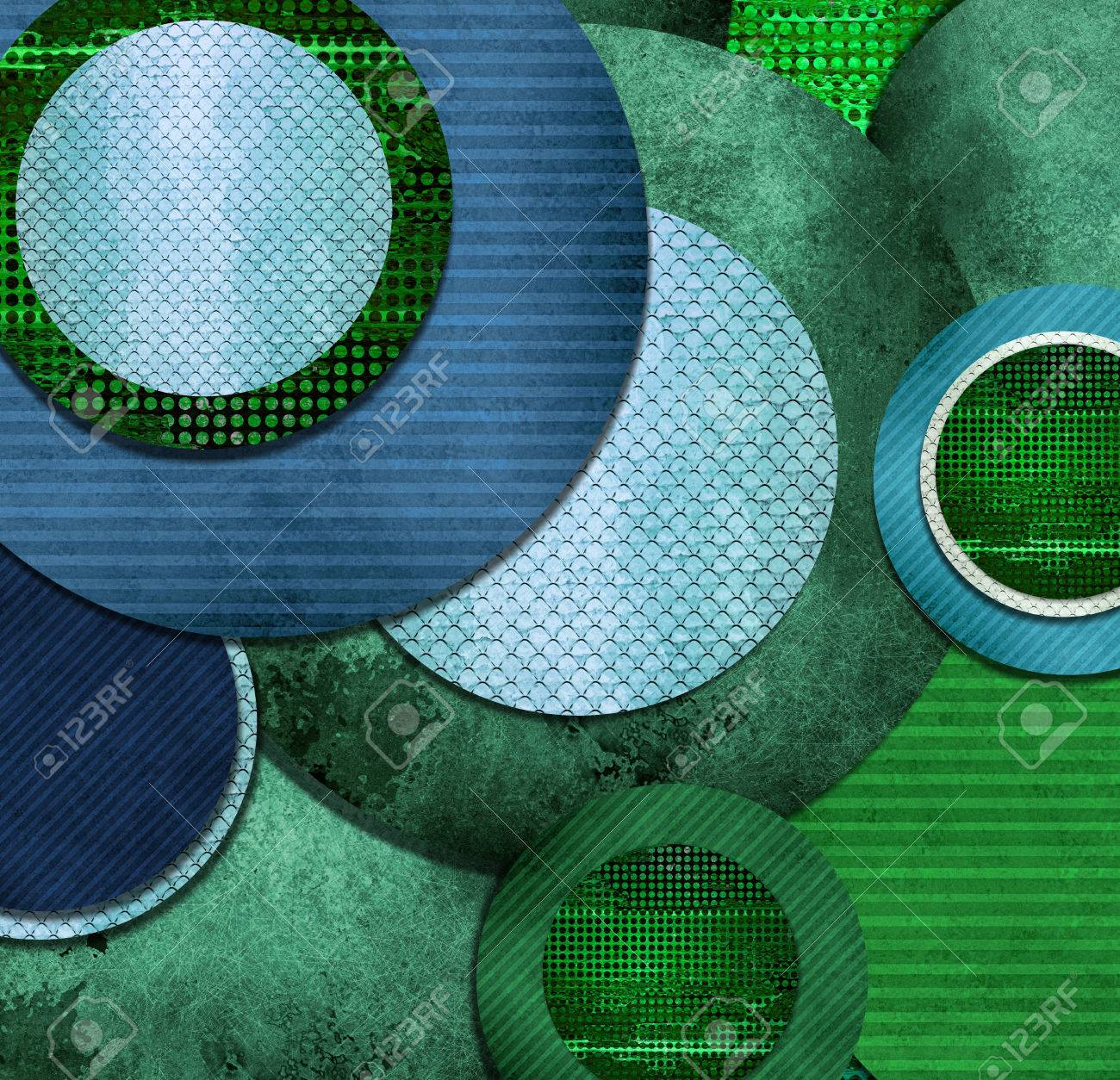 fun abstract circle designs in green and blue layers cool texture and artsy composition stock