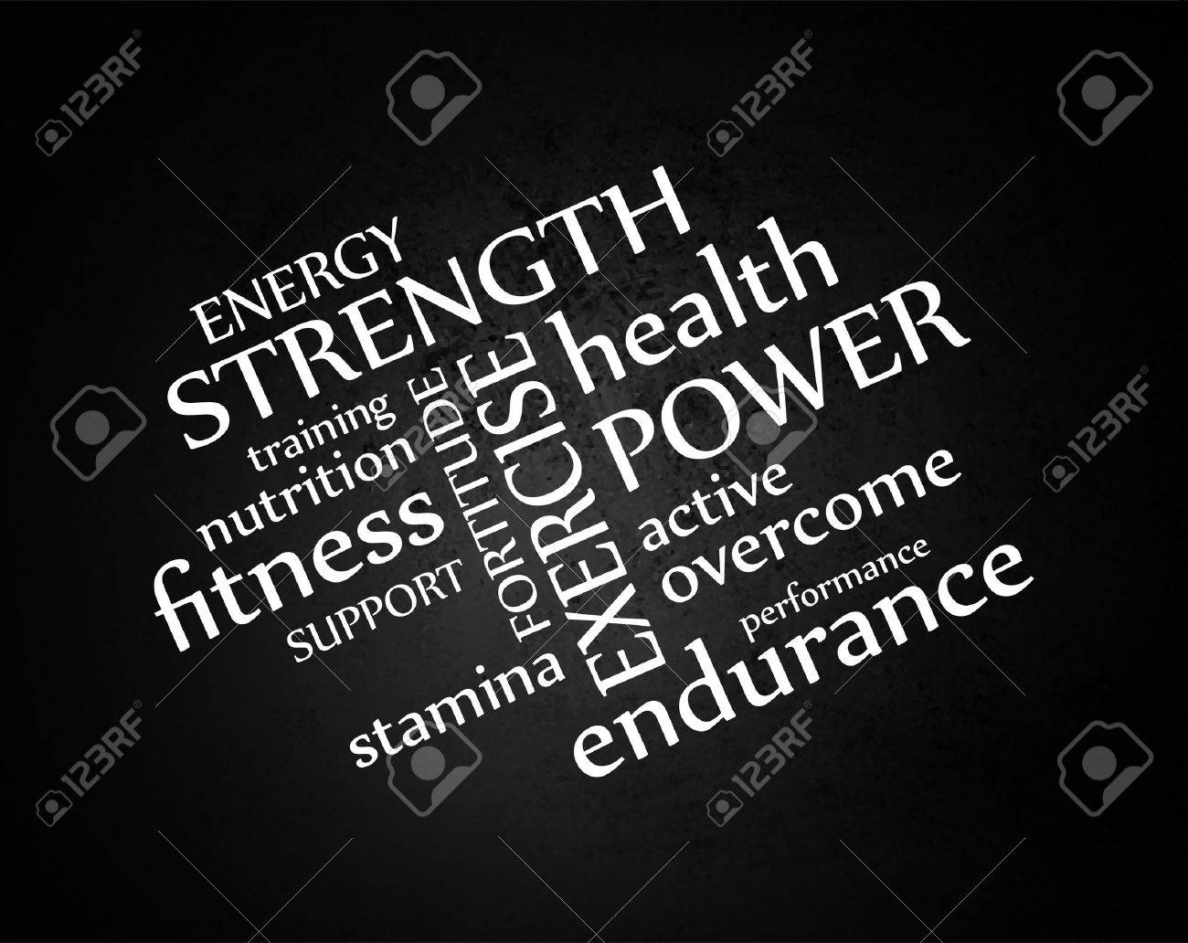 white typography on black grunge background or chalkboard vector, words about health exercise nutrition and fitness in abstract artistic layout - 46568993