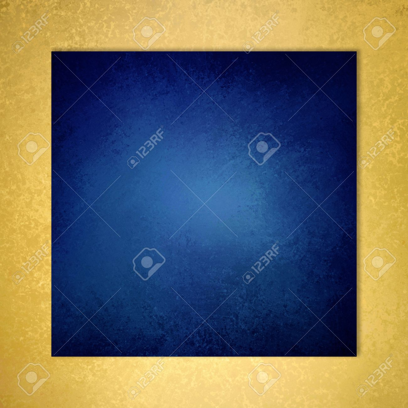 sapphire blue background with elegant metallic gold border and vintage distressed texture - 47624796