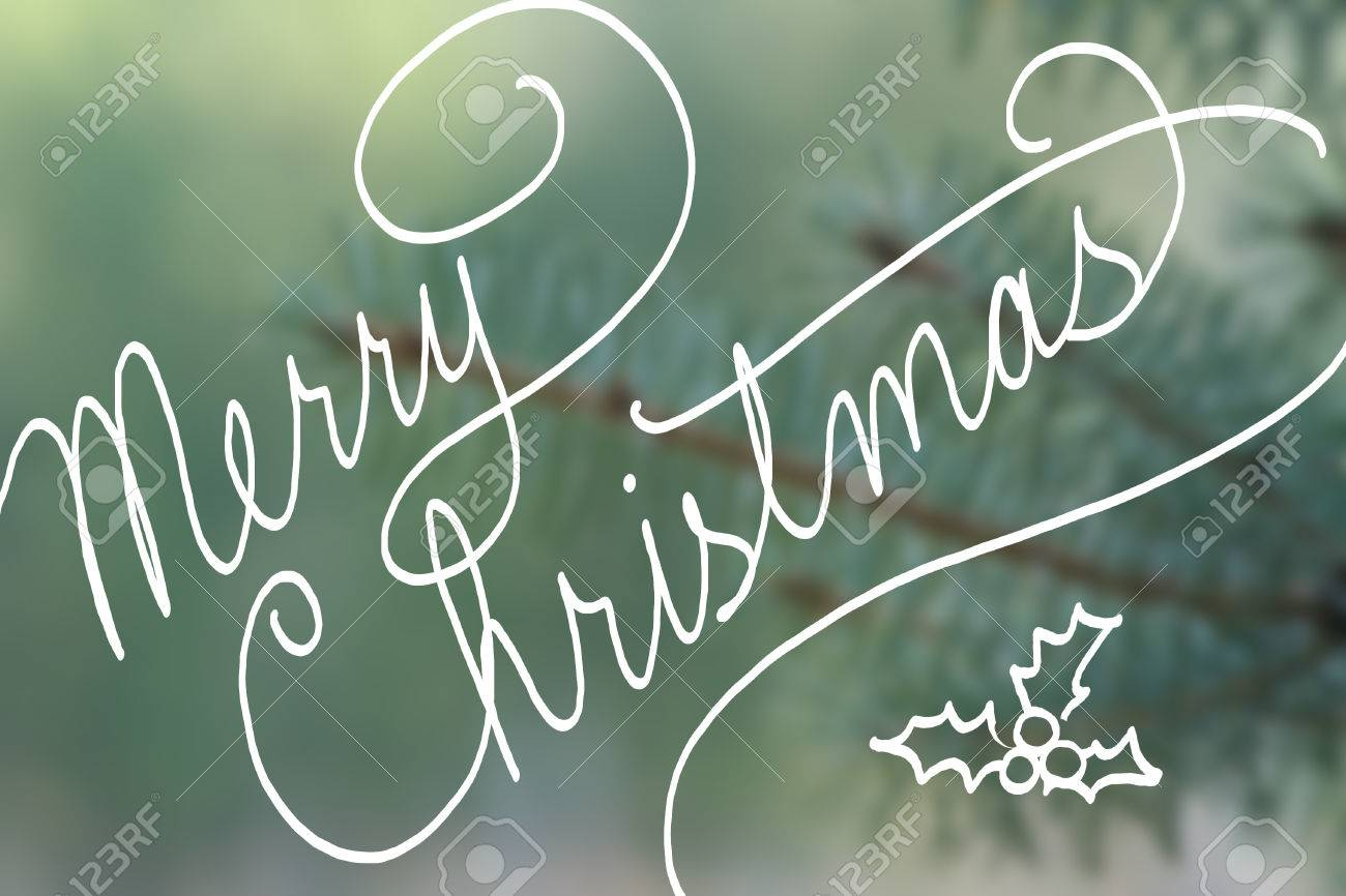 Merry Christmas In Cursive.Merry Christmas Typography In Hand Written Cursive Handwriting