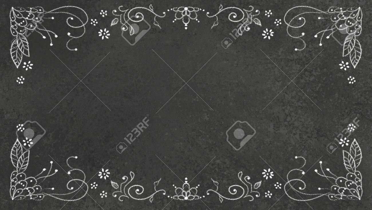 black background texture with white lace chalk design illustration