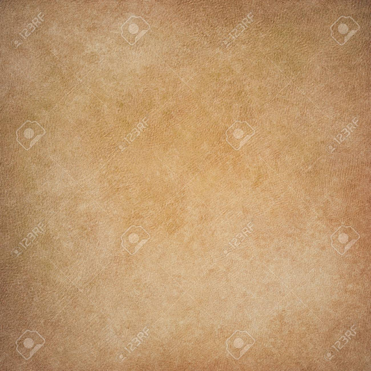Faded Light Brown Parchment Paper Background With Painted Wall Or Canvas Texture Design Stock Photo