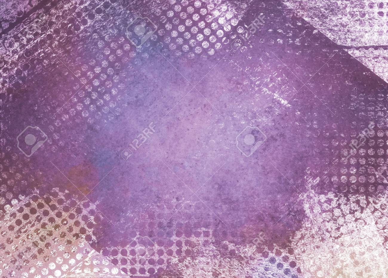 messy grunge purple background paper with textured abstract white grid pattern border - 74726684