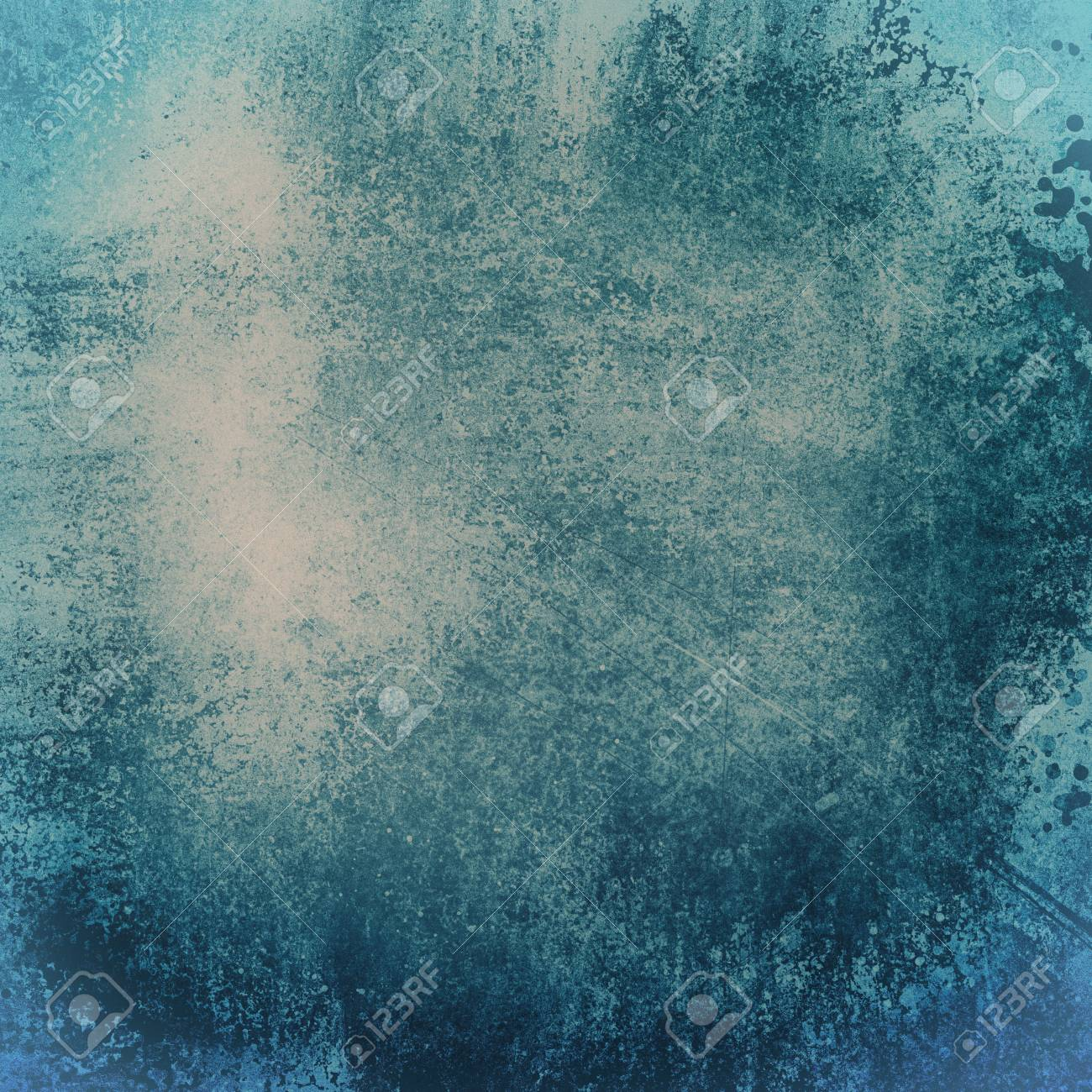 Old Dark Blue Paper Background With Grunge And Messy Stains Paint Blotches Distressed Faded