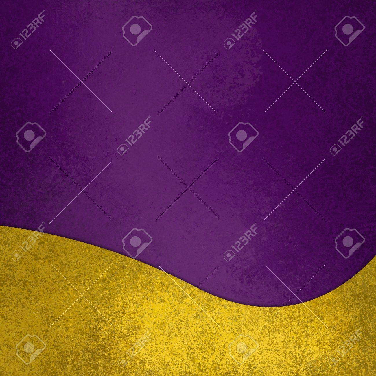 purple background with fancy elegant wavy gold design element on bottom border, abstract waved yellow decoration - 76988938