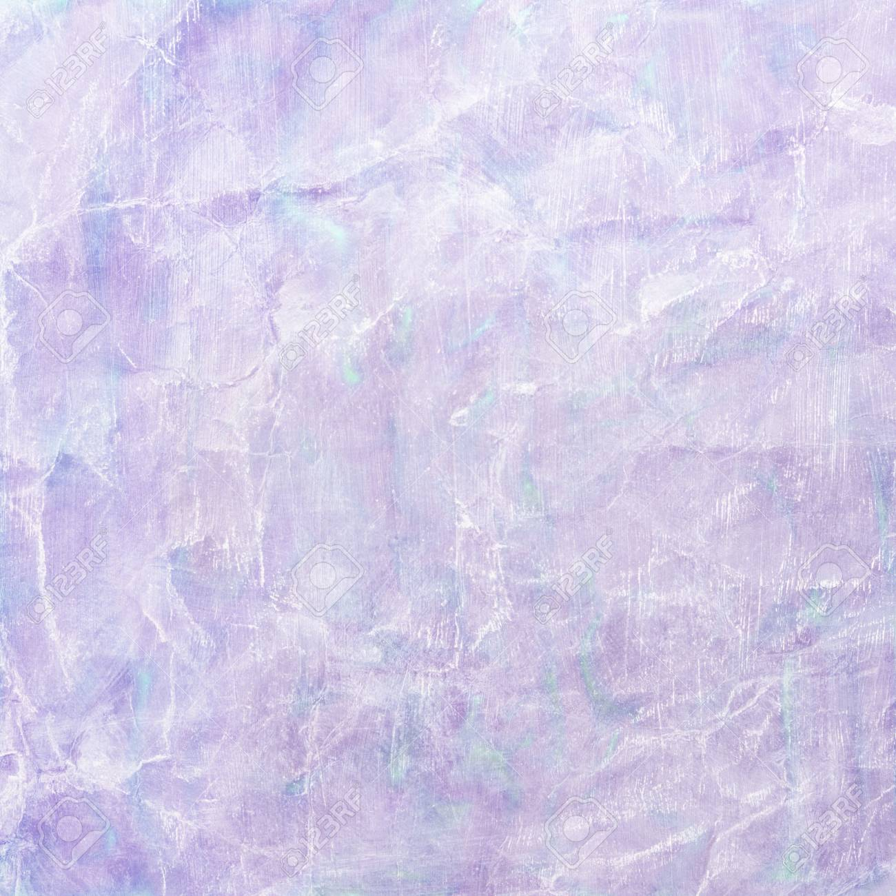 old wrinkled paper background with pastel watercolor paint wash illustration in purple and blue colors with white faded wrinkles or folded creases, crinkled paper texture - 77034155