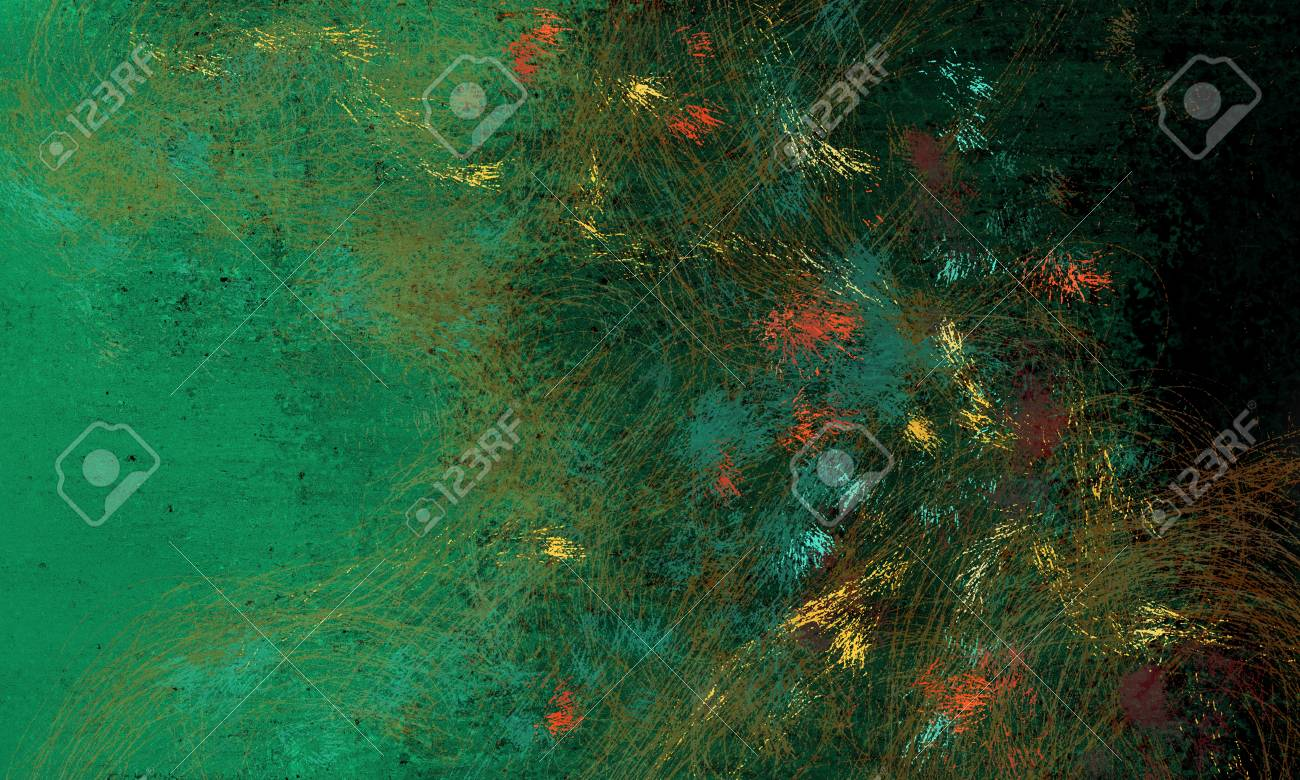 Abstract Art Texture Design With Black And Green Background And