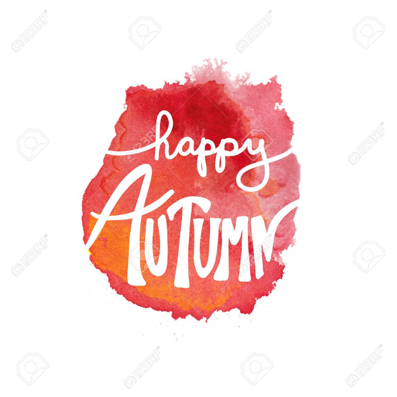 Stock illustration 3d red text quot yes quot stock illustration royalty - Happy Autumn Typography Quote Or Greeting On Hand Painted Watercolor Blot Or Blotch In Artsy Design