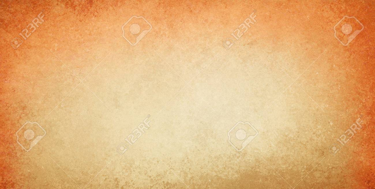 Old Stained Orange And Gold Background With Dirty Grunge Textured Borders Elegant Rustic Vintage Style