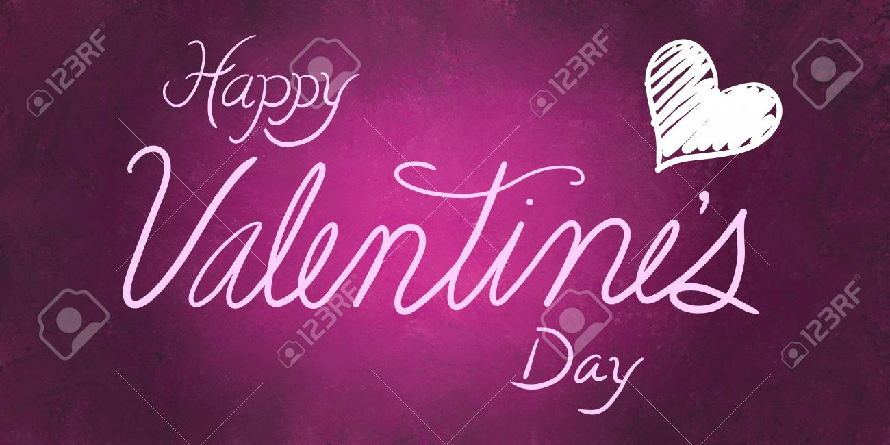 Happy Valentines Day With White Cursive Handwritten Typography With