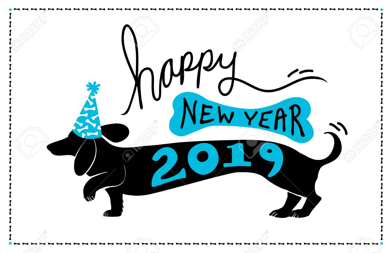 Happy New Year 2019 Background Design With Cute Fun Dachshund Doxie