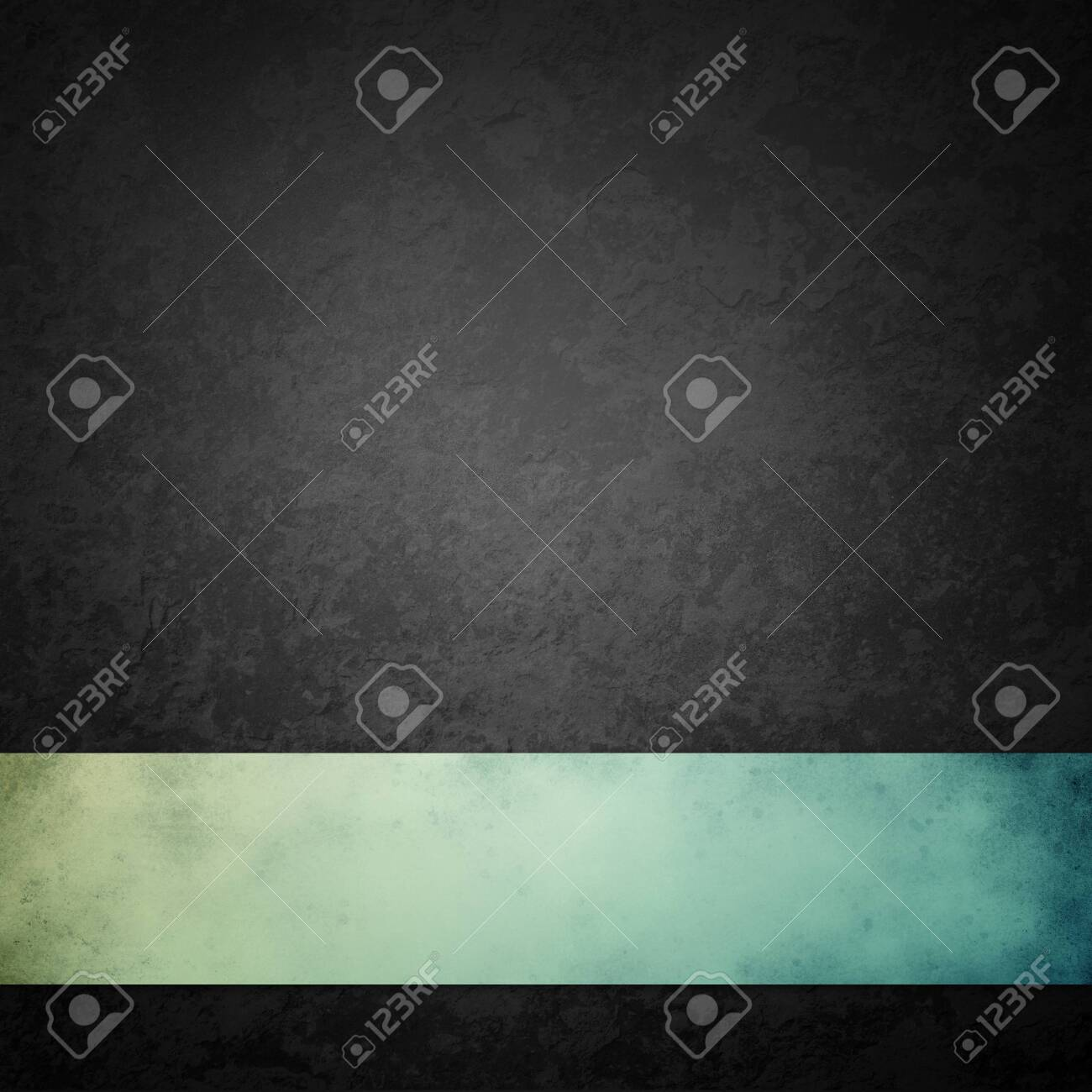 black background with blue green ribbon, distressed vintage grunge texture with marbled black and gray stone or rock design, old dark charcoal color design that is elegant and classy - 131128160