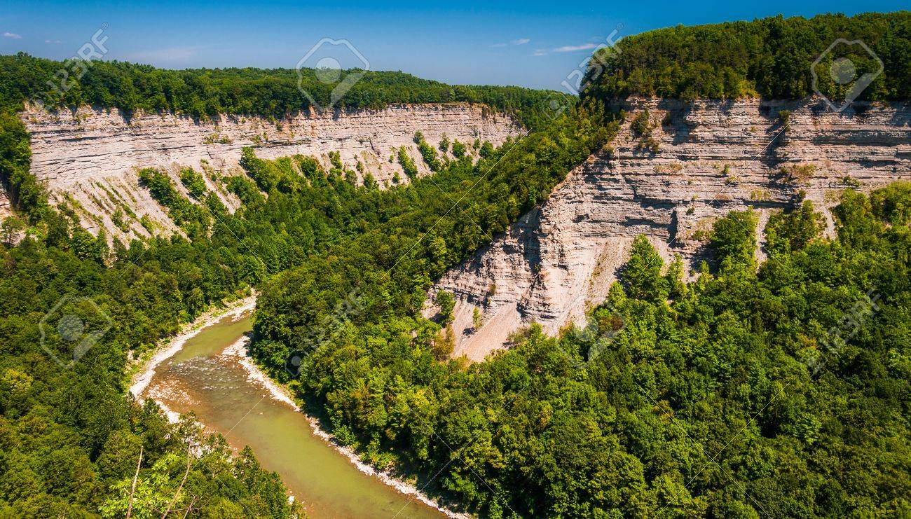 View of the deep  Genesee River gorge in Letchworth State Park, New York. Stock Photo - 20575632