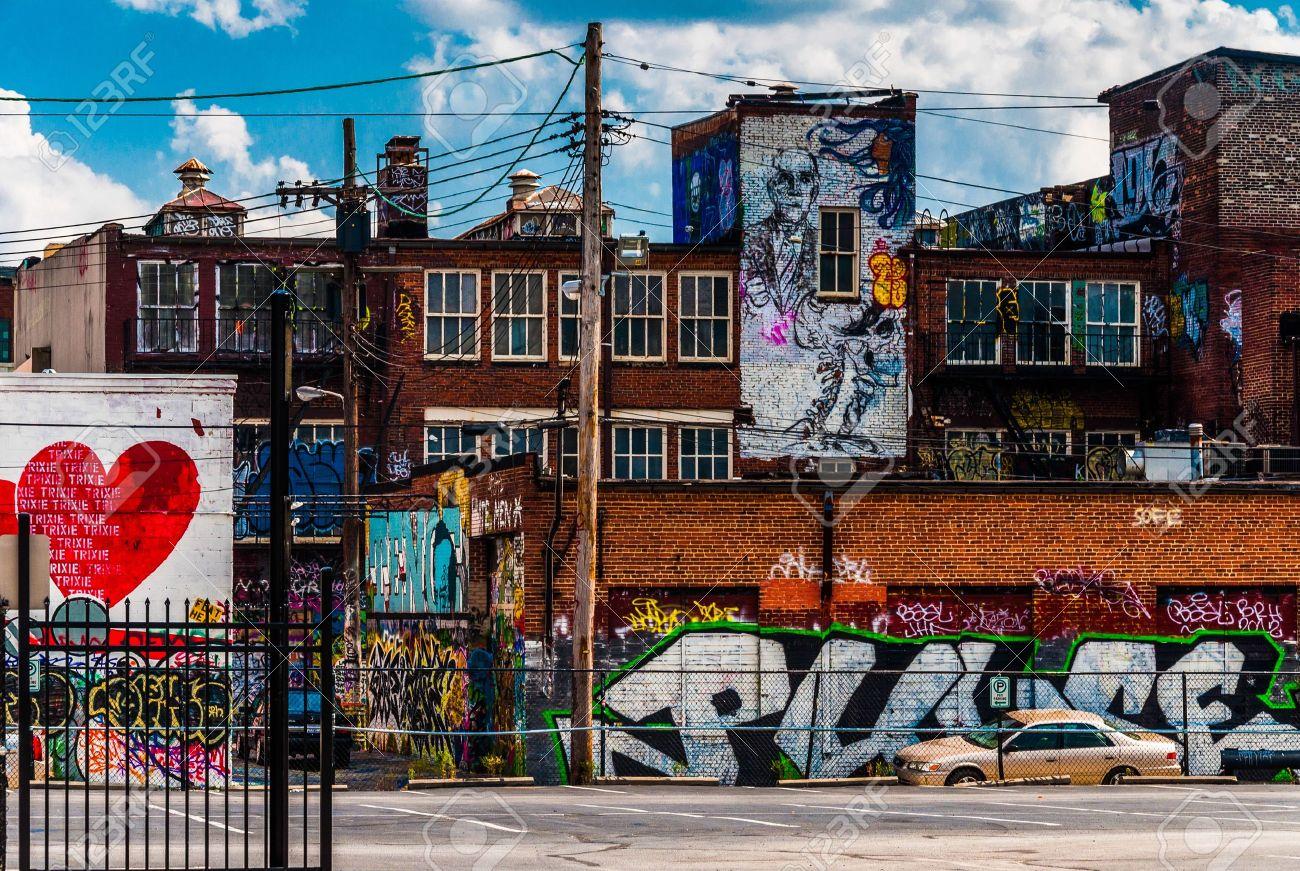 Graffiti wall baltimore - Graffiti And Old Buildings In Baltimore Maryland Stock Photo 20738660