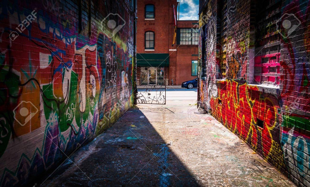 Graffiti wall baltimore - Looking Toward Howard Street In The Graffiti Alley Baltimore Maryland Stock Photo