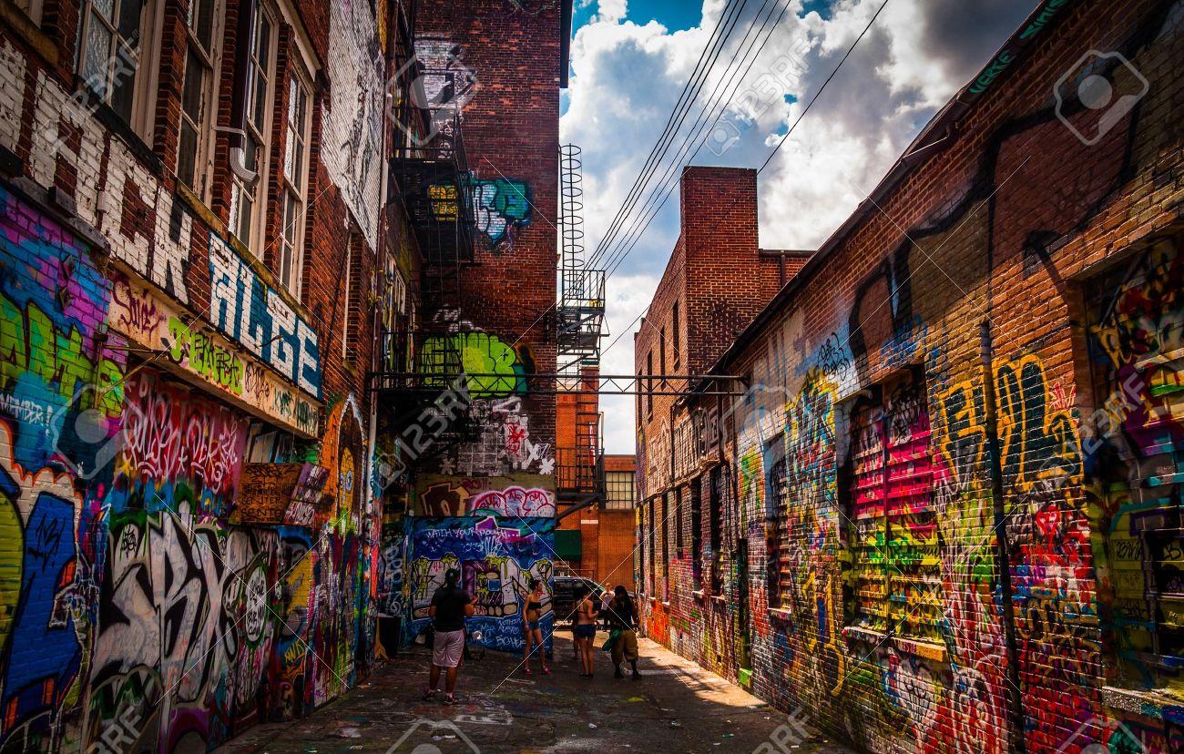 Graffiti wall baltimore - Sunny Summer Day In The Graffiti Alley Baltimore Maryland Stock Photo 20738675