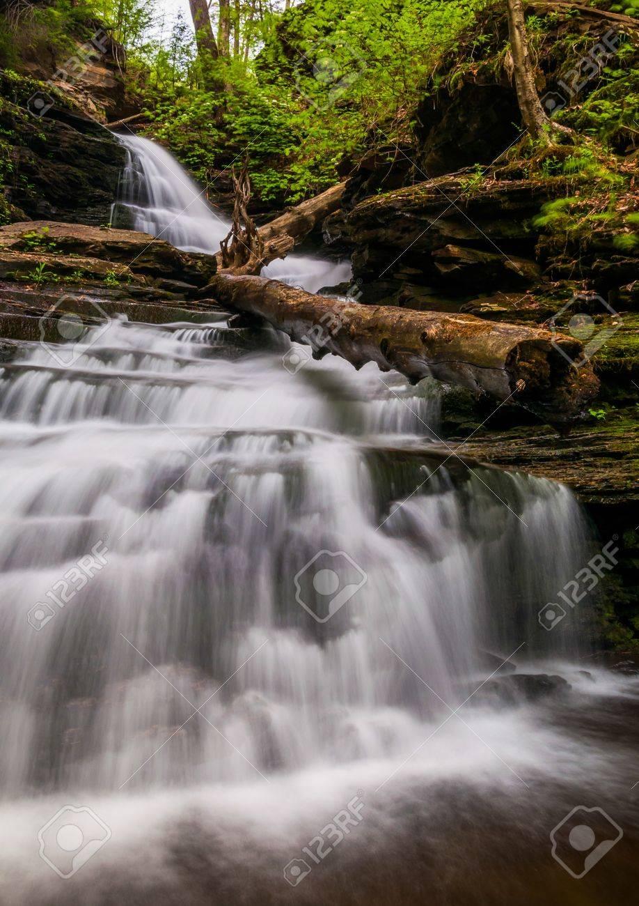 Looking up Huron Falls, in Glen Leigh, Ricketts Glen State Park, Pennsylvania. Stock Photo - 20759425