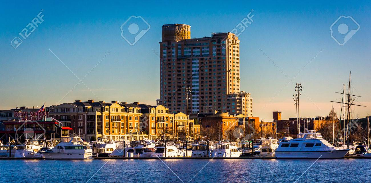 Apartment Building And Marina At The Inner Harbor In Baltimore, Maryland.  Stock Photo