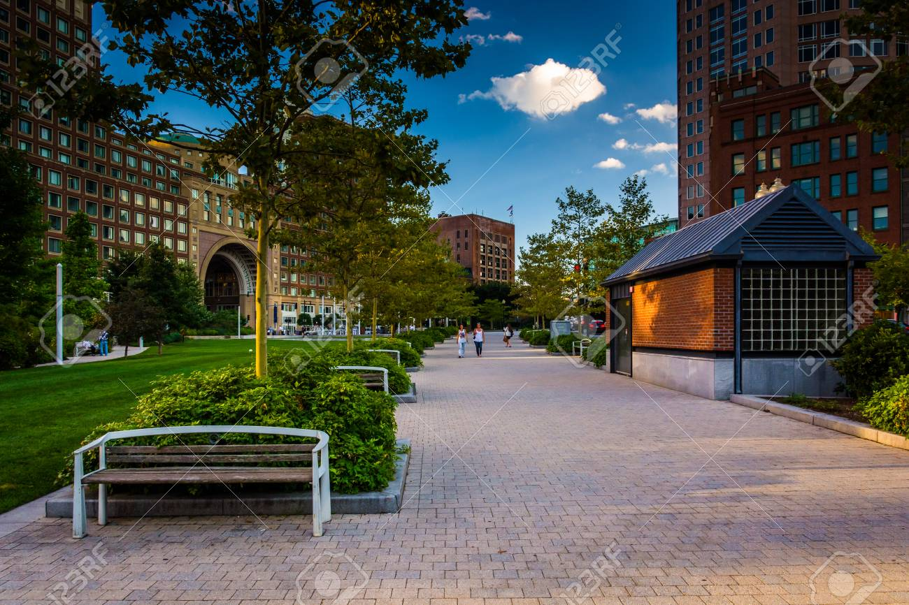 The Rose Fitzgerald Kennedy Greenway And Rowes Wharf In Boston