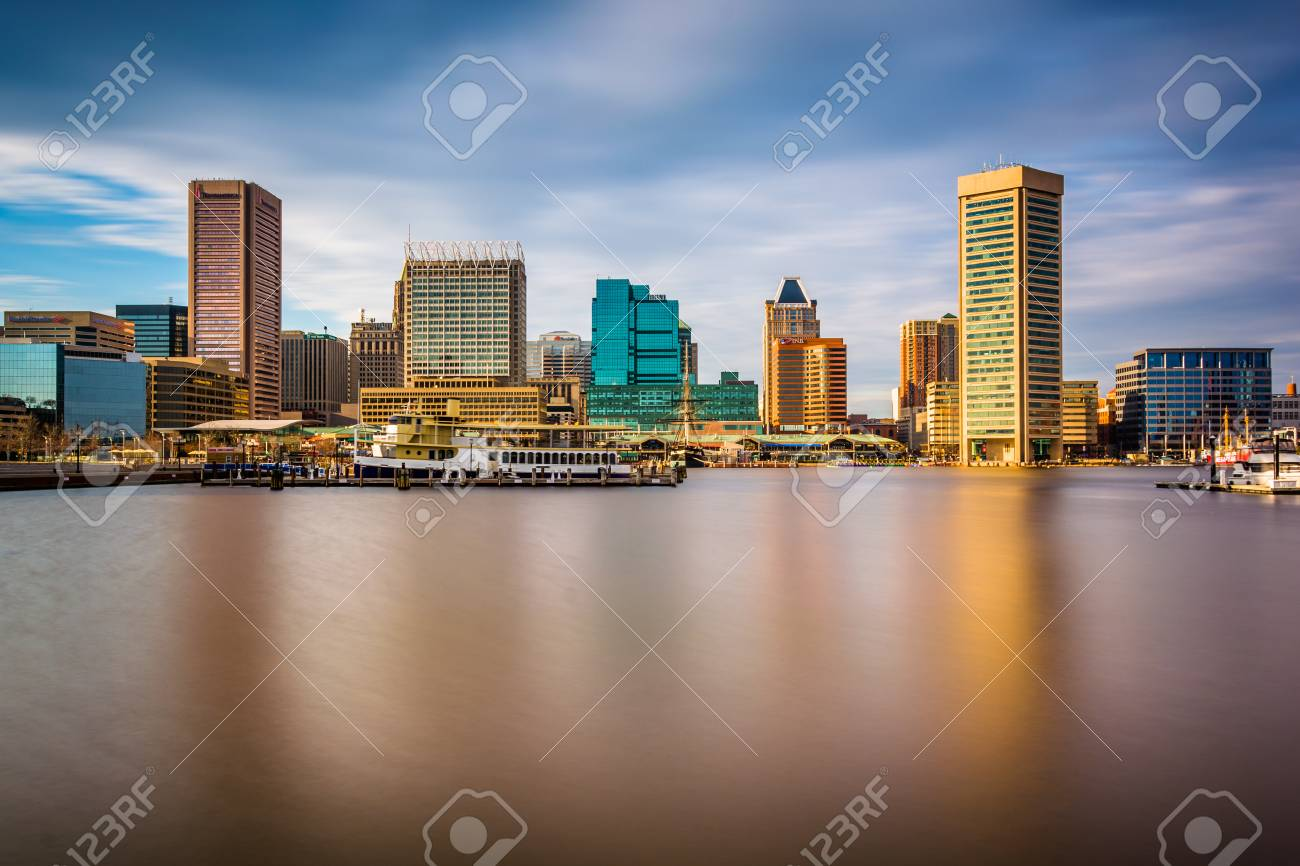 Long exposure of the skyline at the Inner Harbor in Baltimore, Maryland. - 34968189