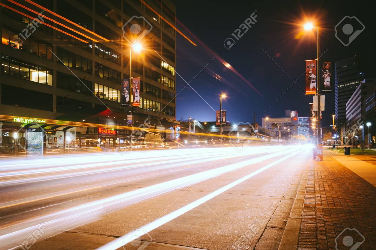 Traffic on Pratt Street at night, in Baltimore, Maryland