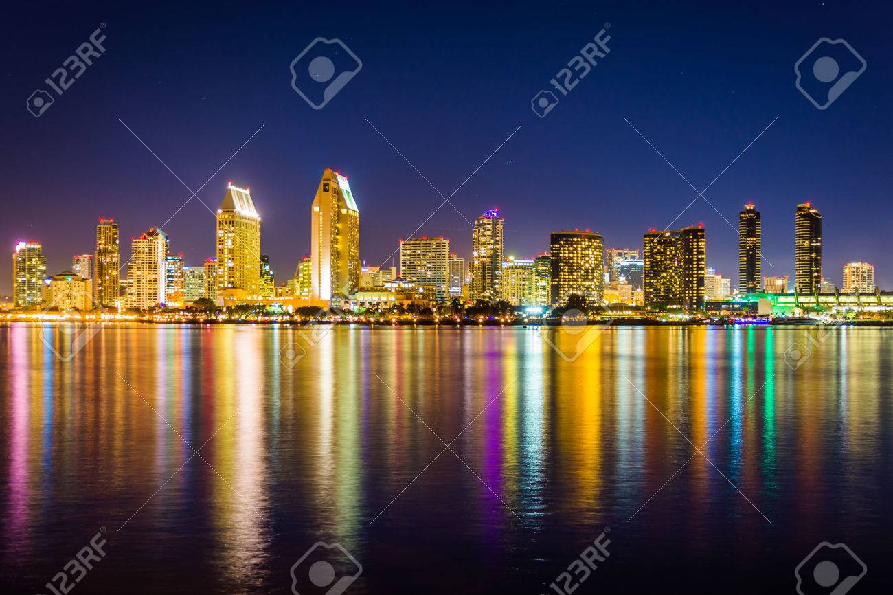 The San Diego skyline at night, seen from Centennial Park, in Coronado, California. - 36570005